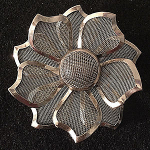 vintage silver mesh flower brooch pin large